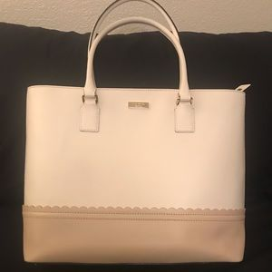 Kate Spade white & beige leather tote